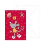 Grußkarte kleine hübsche Maus mit Umschlag