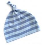 Babymütze mit Knoten blau-hellblau gestreift