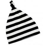Baby-Mütze mit Knoten schwarz-weiß gestreift