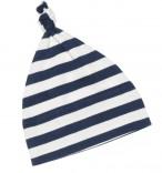 Babymütze mit Knoten blau-weiß gestreift