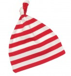 Babymütze mit Knoten rot-weiß gestreift