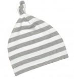 Babymütze mit Knoten grau-weiß gestreift
