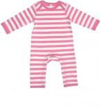 Strampler ohne Füße rosa-weiß gestreift Baby-Mädchen