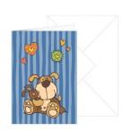 Grußkarte blau gestreift Hund mit Umschlag