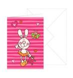 Grußkarte Baby-Mädchen Hase mit Umschlag